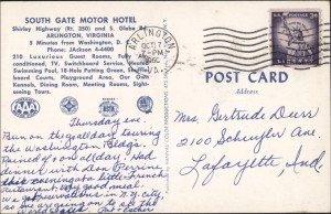 South Gate Motor Hotel, 1960, reverse