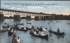 Boating on the Potomac at the Aqueduct Bridge, facing Arlington, about 1910.