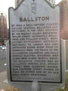 Ballston historical marker at the corner of Stafford and Fairfax
