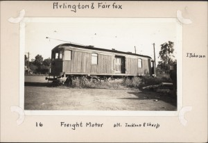 """Arlington & Fairfax, Freight Motor, blt. Jackson and Sharp. J. Johnson."" I'm not sure what's going on in this photo, but when I saw it on Ebay, I figured someone in this area could figure it out."